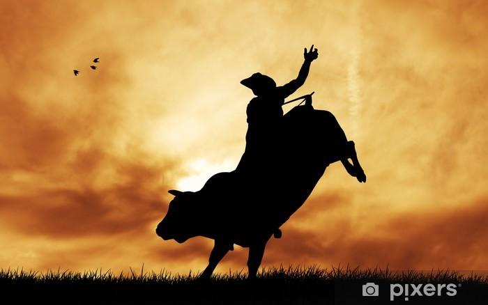 Sticker Pixerstick Bull cavalier au coucher du soleil - Hommes