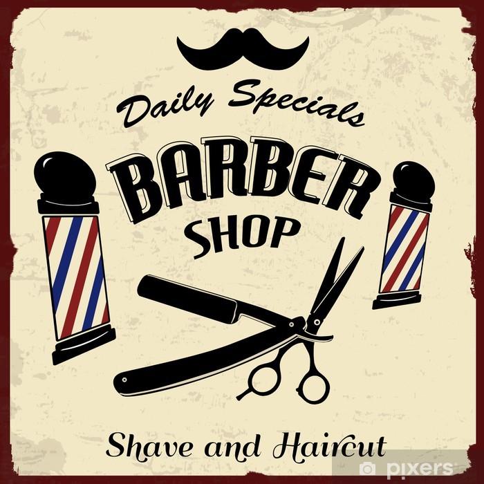 Naklejka Pixerstick Vintage Styled Barber Shop - Style
