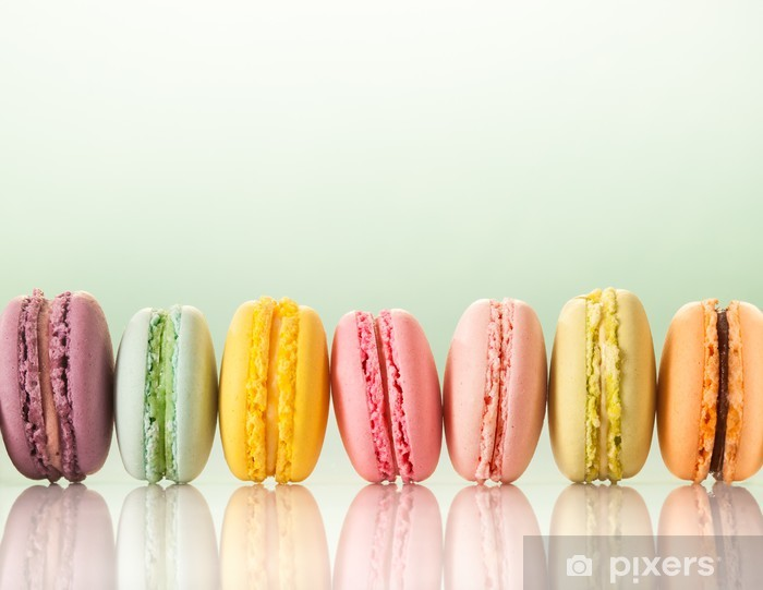 Papier peint vinyle Macarons colorés - Desserts et friandises