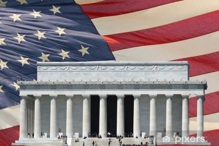 Vinyl-Fototapete Washington DC Memorial auf Sterne und Streifen-Flag - Öffentliche Gebäude