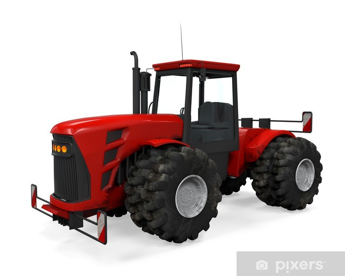 Vinyl-Fototapete Red Tractor Isolated - Wandtattoo