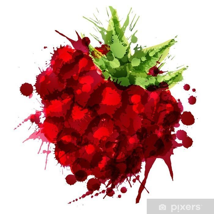 Adesivo Pixerstick Raspberry fatto di spruzzi colorati su sfondo bianco - Frutta