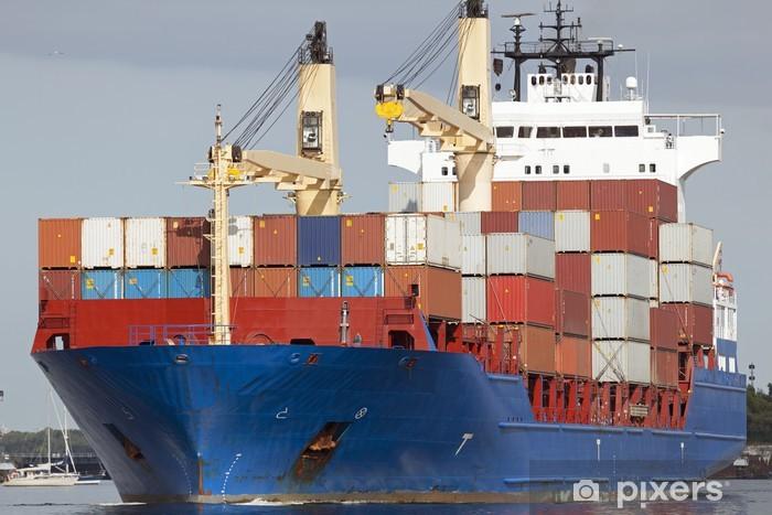 Papier peint vinyle Porte-conteneurs sur le canal de la mer du Nord-Baltique à Kiel, Allemagne - Industrie lourde