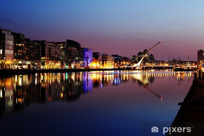 South bank of the river Liffey at Dublin City Center at night Vinyl Wall Mural - Europe