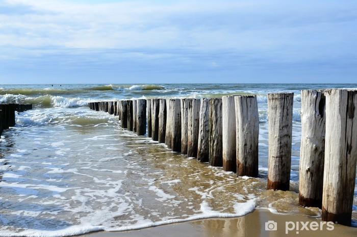 Vinyl Fotobehang Golfbrekers op het strand van de Noordzee in Domburg Nederland - Thema's