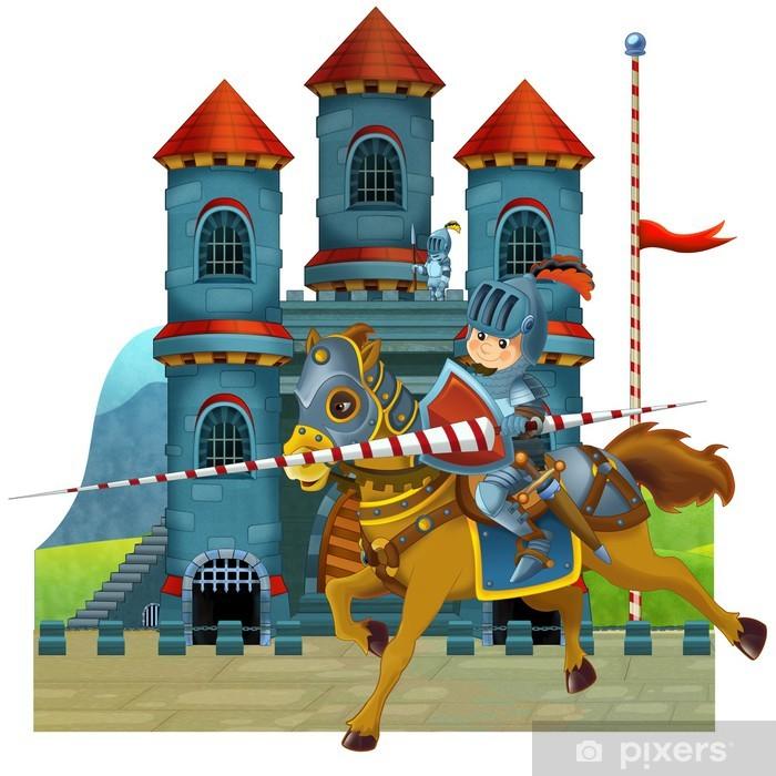 Sticker Pixerstick L'illustration de bande dessinée médiévale pour les enfants - Monuments