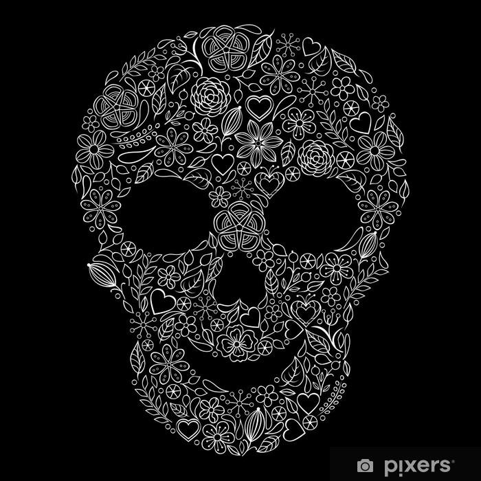 Fototapeta winylowa Streszczenie kwiatów czaszka - Życie