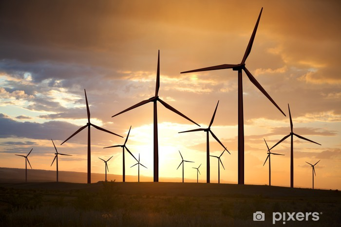 Papier peint vinyle Éoliennes sur ciel coucher de soleil - Moulins à vent