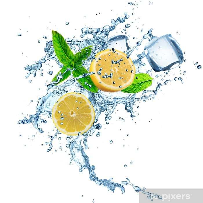 Lemons in water splash Framed Poster - Wall decals