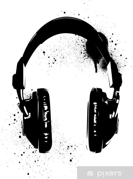 Headphones Graffiti Vinyl Wall Mural - Hobbies and Leisure