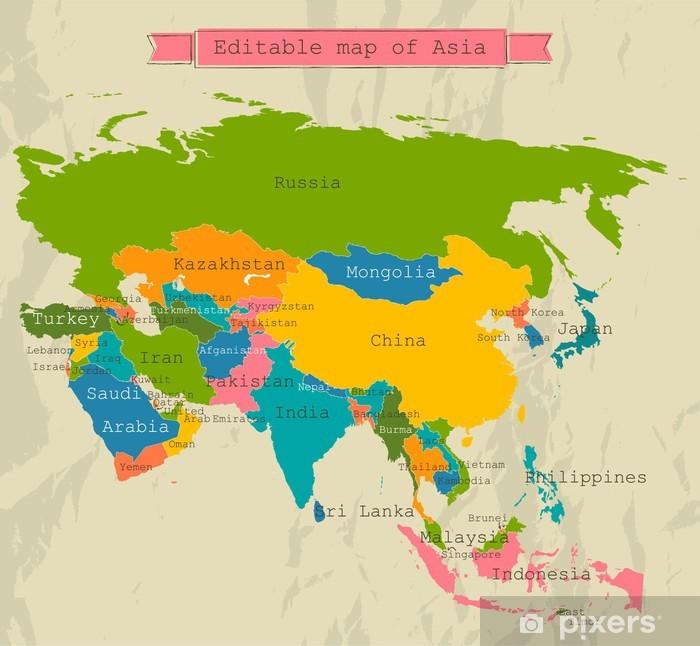 Poster Redigerbara Karta Asien Med Alla Lander Pixers Vi
