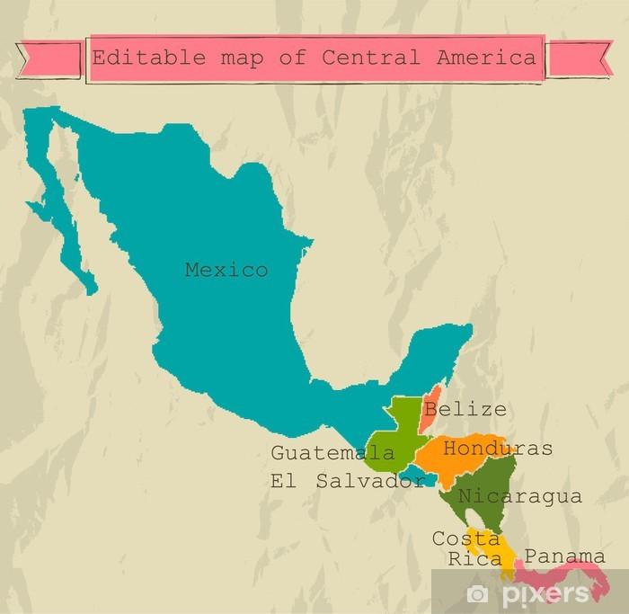 Plakat Ameryka Środkowa mapy edycji z wszystkich krajów. - Tematy