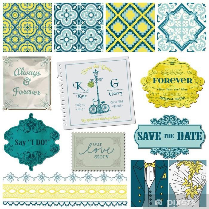 Fotomural Estándar Elementos del libro de recuerdos de diseño - Set de boda Vintage - en vector - Celebraciones
