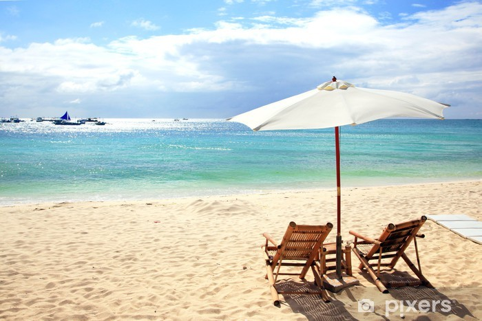 Chairs And Umbrellas On A White Beach Boracay Philippines Vinyl Wall Mural Asia