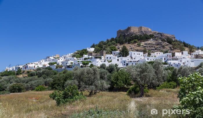 Vinyl-Fototapete Stadt Lindos auf Rhodos, Griechenland - Europa
