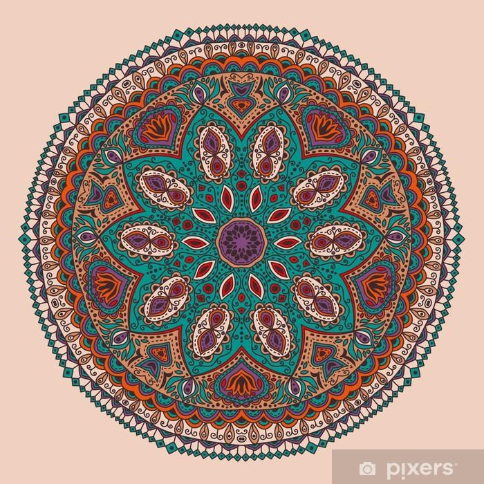 Ingelijste Poster Sier-ronde kant patroon, cirkel achtergrond met veel detai - Stijlen
