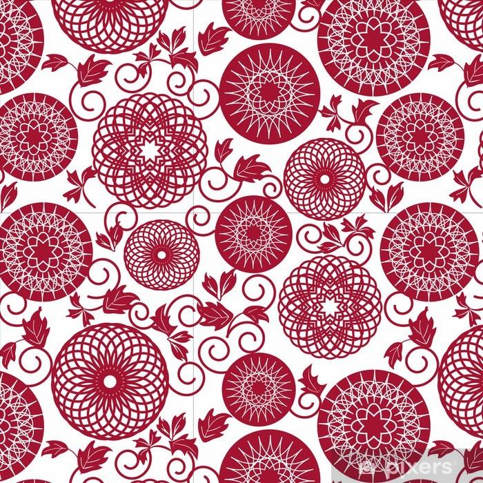 Mural de Parede em Vinil red pattern seamles - Cidades asiáticas