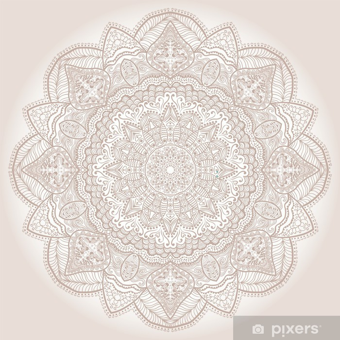 Vinilo Pixerstick Patrón ornamental de encaje redondo, de fondo círculo con muchos deta - Temas