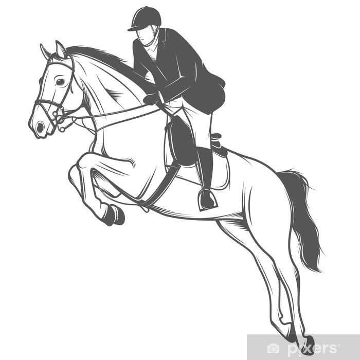Mural de Parede em Vinil Equestrian sport, jockey on a jumping horse - Decalque de parede