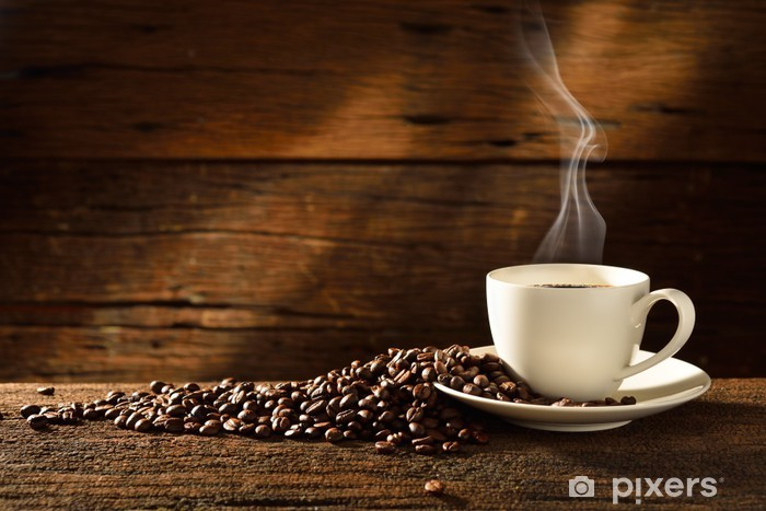 Coffee cup and coffee beans on old wooden background Vinyl Wall Mural - Themes