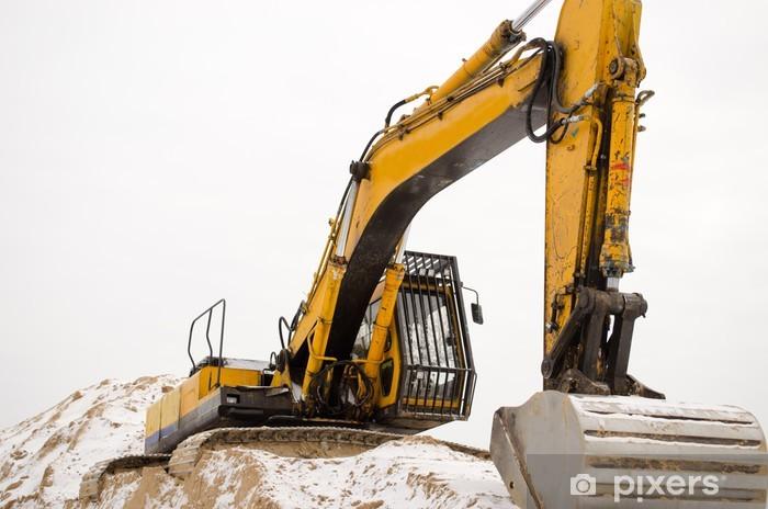 Fototapeta winylowa Koparka sand pit kamieniołom przemysł zima śnieg - Przemysł ciężki