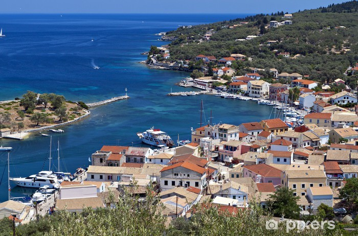 Sticker Pixerstick Bay à l'île de Paxos Gaios en Grèce. Mer Ionienne - Europe