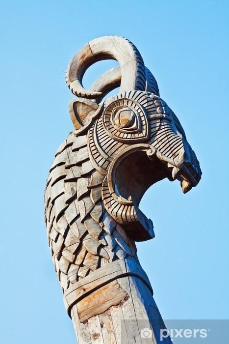 Vinyl Fotobehang Hoofd van een draak op de voorkant van het Vikingschip - Openbare Gebouwen