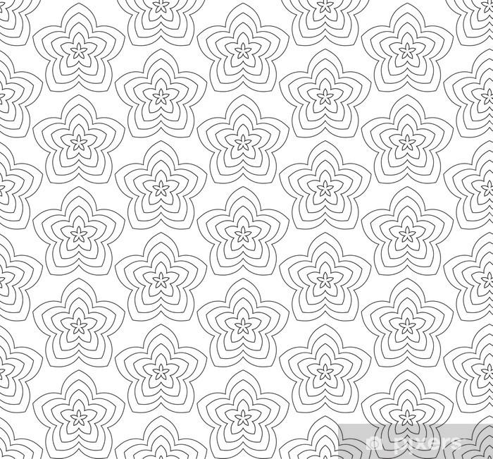 Flowers, black and white abstract vector seamless pattern. Poster - Backgrounds