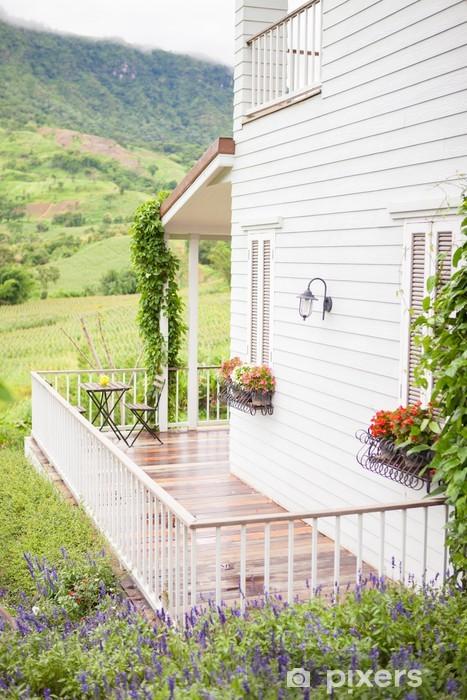 Naklejka Pixerstick Kwiatowy ogród, balkon - Pejzaż miejski