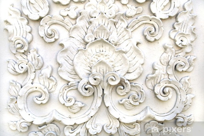 Fotomural Estándar Arte tailandés blanca pared de estuco, el templo de Tailandia - Temas