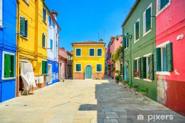 Vinyl Fotobehang Venetië bezienswaardigheid, Burano eiland straat, kleurrijke huizen, Italië - Thema's