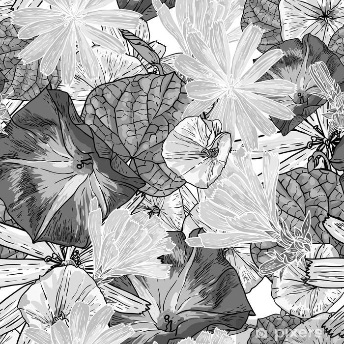 Poster Nahtlose Vintage schwarze und weiße Blumenhintergrund - Geschäftskonzepte