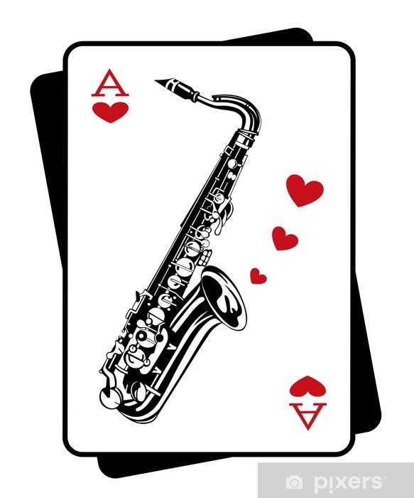 Fototapeta winylowa Saksofon i karty do gry - Rozrywka