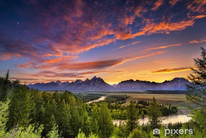 Pixerstick Sticker Zomerse zonsondergang in de bergen - Thema's