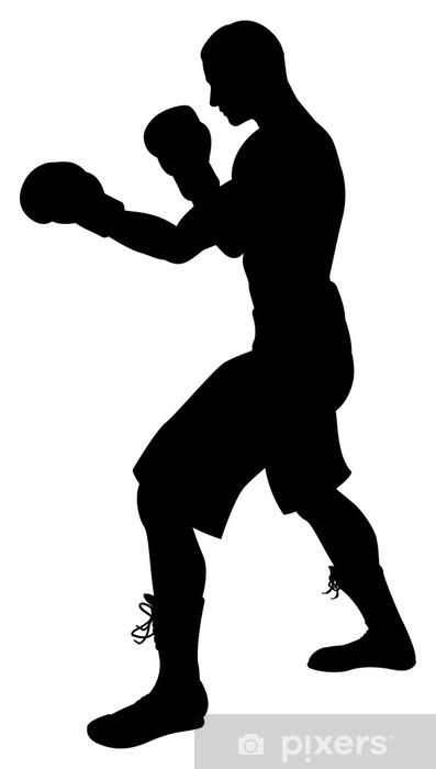 Sticker Pixerstick Silhouette de boxeur - Hommes