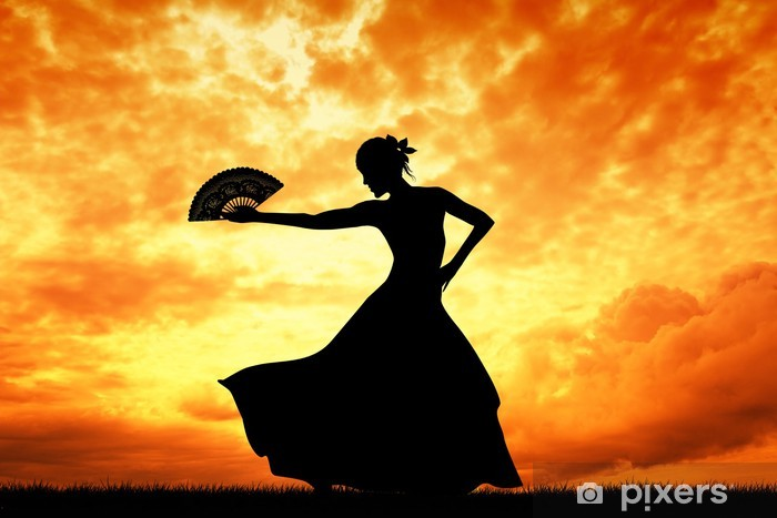 Woman dancing flamenco Pixerstick Sticker - Themes