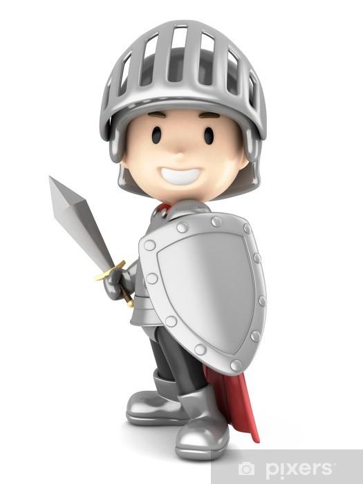 Sticker Pixerstick Rendu 3d d'un garçon de chevalier mignon - Signes et symboles