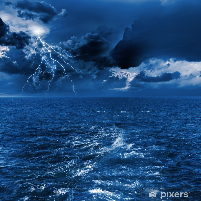Thunderstorm in sea Poster - Life
