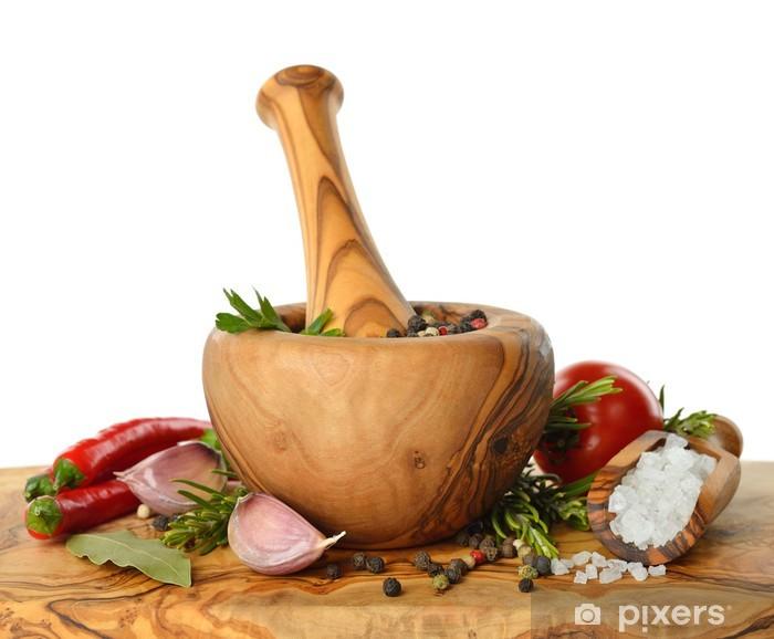 Naklejka Pixerstick Drewniane moździerz i przyprawy - Przyprawy i zioła