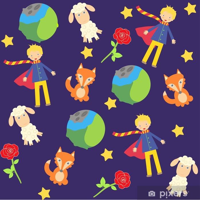 Papier peint vinyle Fond avec les petits personnages de prince - Fleurs