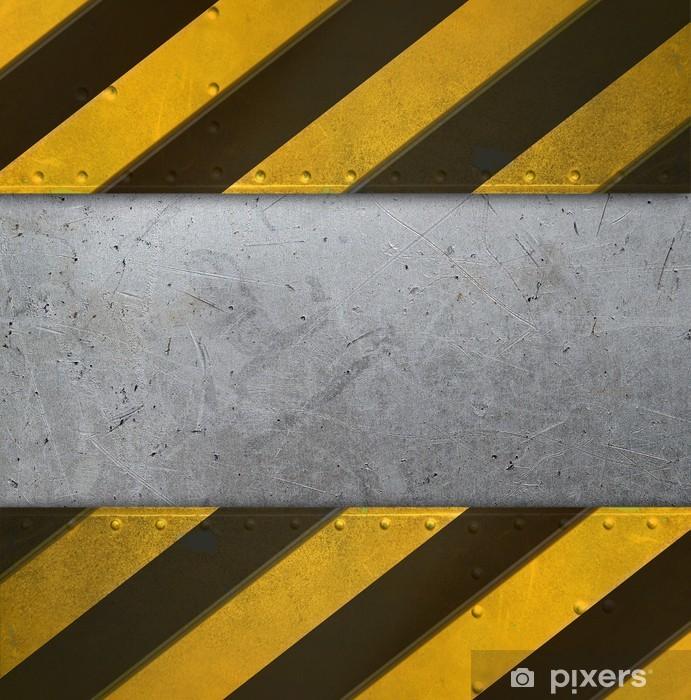 Naklejka Pixerstick Metalowa płyta ostrożnie paski - Tekstury
