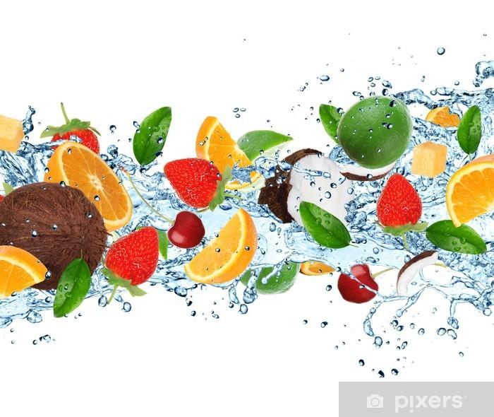 Fruit with splashing water Pixerstick Sticker - Meals