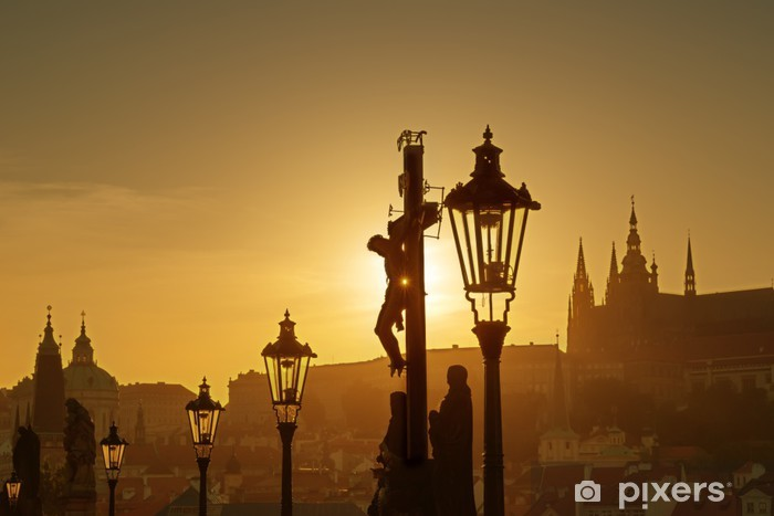 View of Prague in evening from Charles bridge Vinyl Wall Mural - European Cities