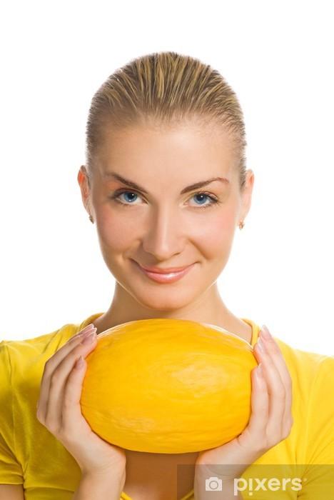 Naklejka Pixerstick Piękna dziewczyna z dojrzałych melonów - Kobiety