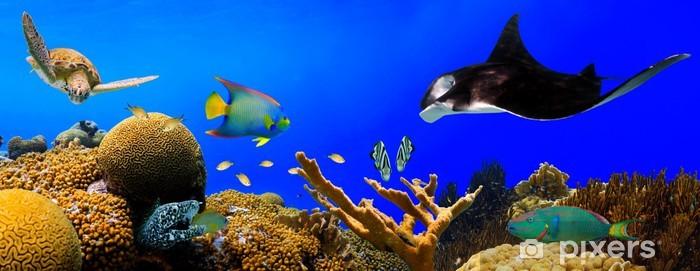 Papier peint vinyle Underwater panorama de récifs tropicaux - Panoramique