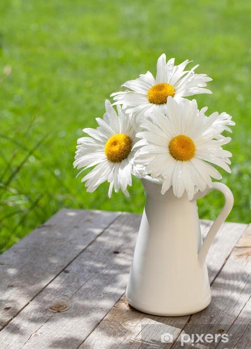 Vinyl-Fototapete Frische Kamille Blumenstrauß in Vase - Blumen