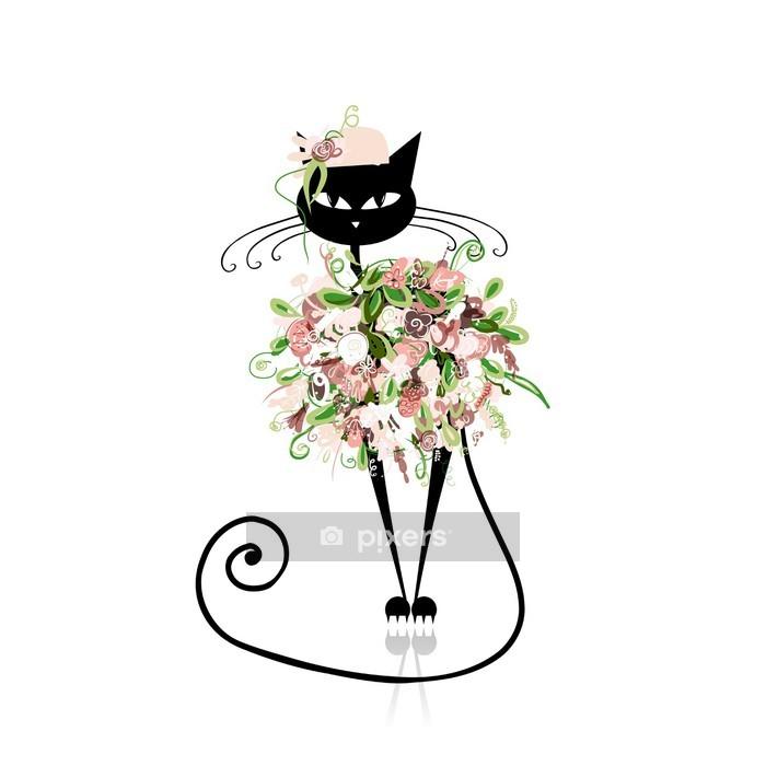 Muursticker Glamour kat in bloemen kleding voor uw ontwerp -