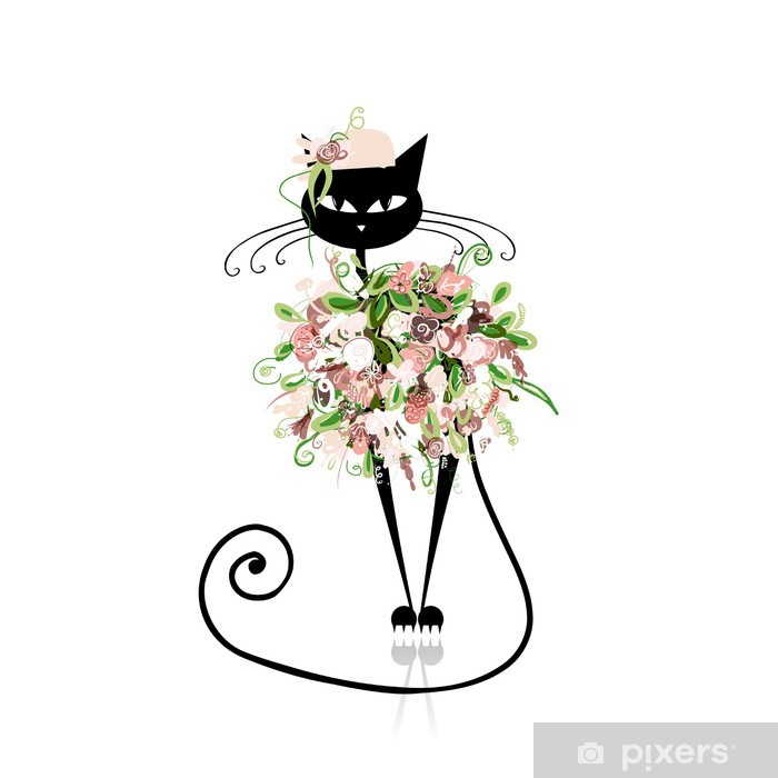 Sticker pour ordinateur portable Glamour chat dans les vêtements floraux pour votre conception -