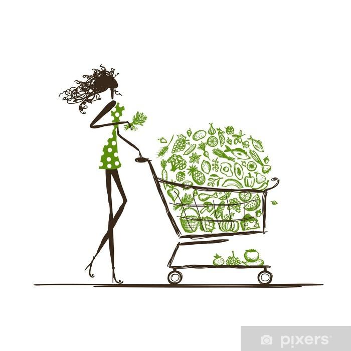 1aad94fb8 Pixerstick-klistremerke Kvinne shopping med matvogn i supermarked