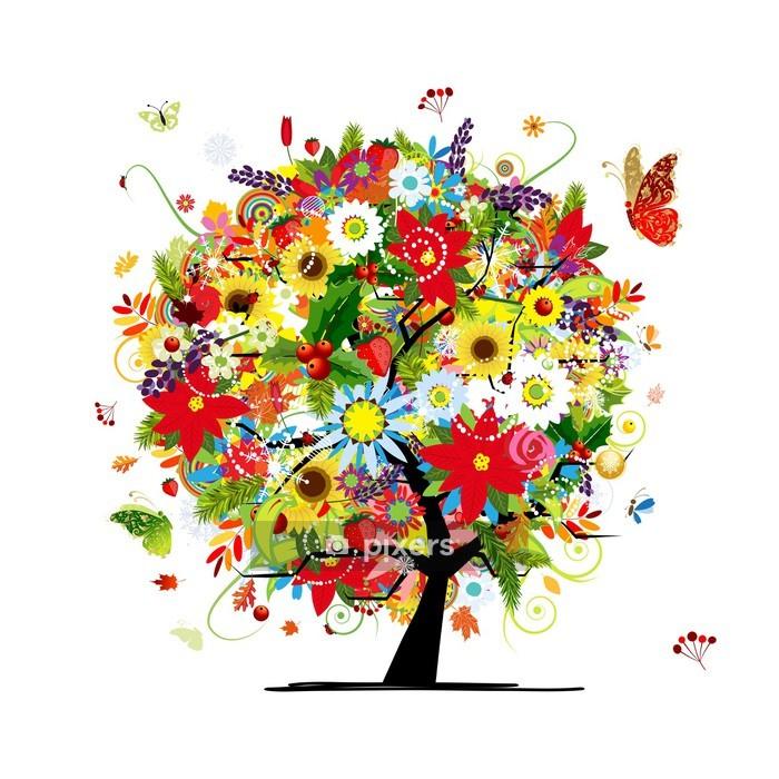 Sticker mural Quatre saisons concept. Arbre de l'art pour votre conception - Sticker mural